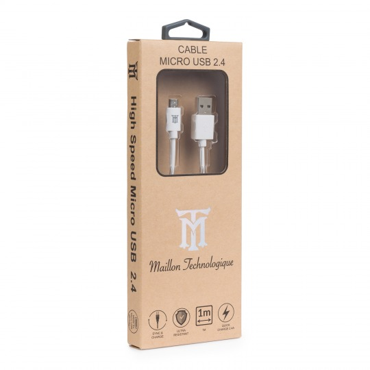 BASIC CABLE MAILLON TECHNOLOGIQUE  Micro USB 2.4A 1m White